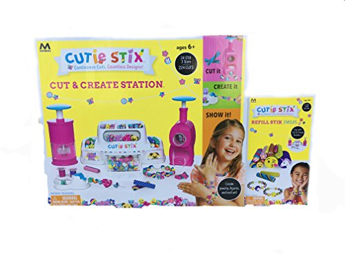 (Maya Toys Cutie Stix - Cut & Create Station Jewelry Making PLUS Refill Pack with Storage)