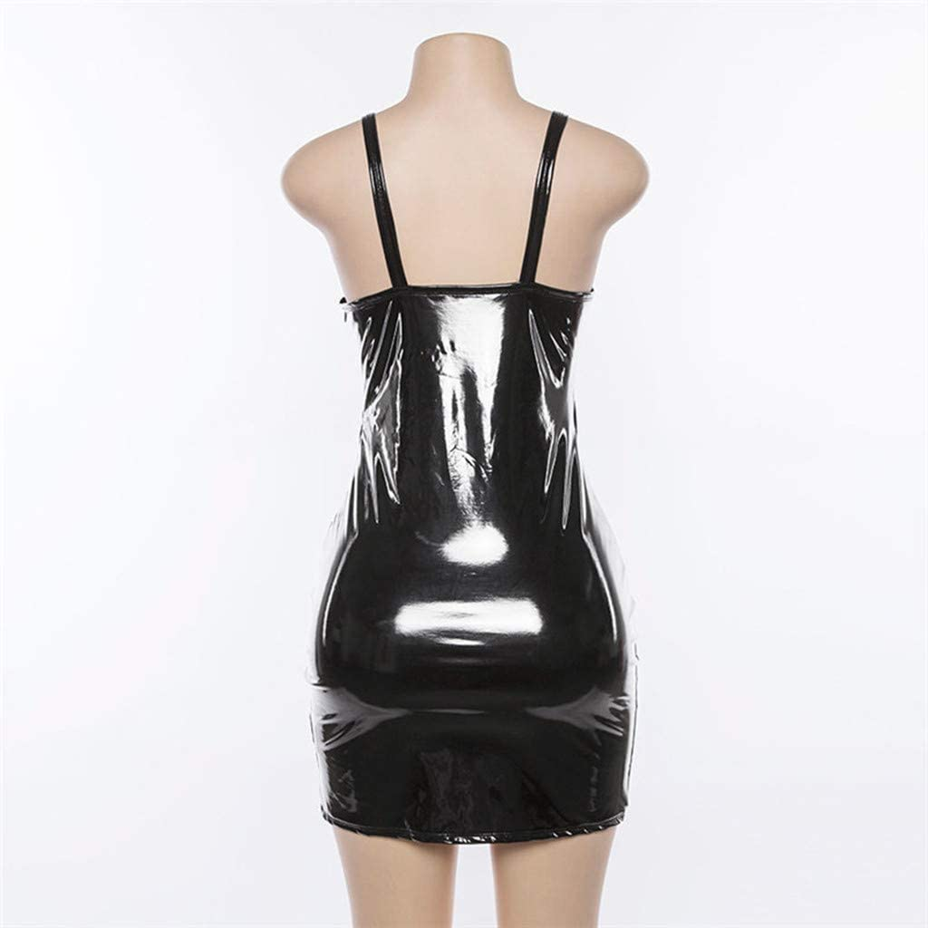 Women Sleeveless Shiny Wetlook Bodysuit Party Clubwear Mini Dress Women/'s Faux Leather Bodycon Dress