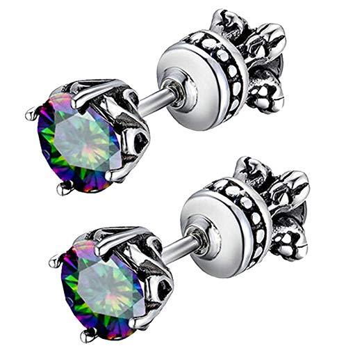 - Beydodo Stainless Steel Men Women Stud Earring Reversible Side Vintage 4-prong Royal Earring Stud Rainbow