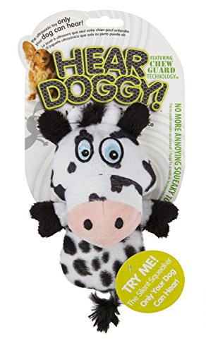 Cow Plush Dog Toy - Hear Doggy!  Mini Flattie Cow with Chew Guard Technology Plush Silent Squeak Dog Toy