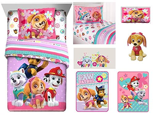 (Paw Patrol Gangs All Here Kids 9 Pc Kids Bedding Ensemble: Includes twin/full comforter, sham, twin flat sheet, twin fitted sheet, pillowcase, 2 throws, cuddle pillow, and wall)
