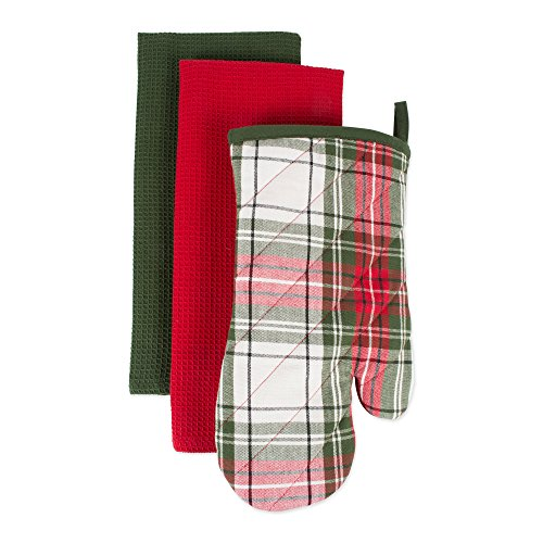 (DII, Oven Mitt Dishtowel Set, Cabin Christmas, 3 Pieces, Red and Green)