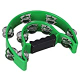 BQLZR Green Double 40 Jingles Half Moon Musical Tambourine Hand Percussion KTV Double Bell Tambourine