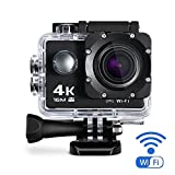 Maxesla 4K Action Camera Sports Camera WIFI 2.0 Inch LCD 16MP Waterproof Case 170° Ultra Wide-Angle Lens DV Camcorder with 2 Batteries and Free Mounting Accessories Kit