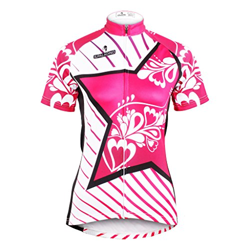 QinYing Women Star Breathable Cycling Pink Jersey Shirt XXL