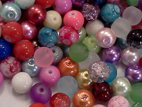 - Half-pound Round Glass Beads, Assorted Colors, 8mm, Bulk Lot