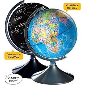 Interactive World Illuminated Globe For Kids, 2-In-1 Standing Political Earth Sphere By Day & Glowing Star Constellation Map At Night - AC Adapter Included