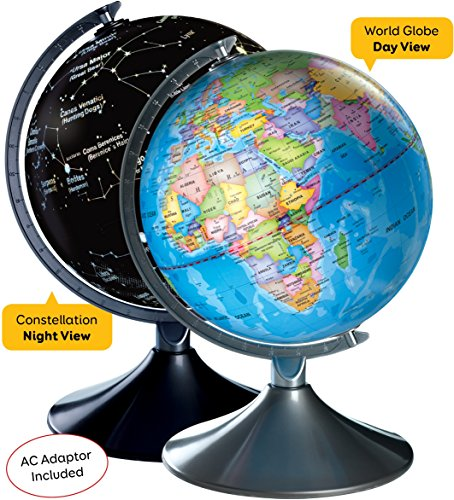 - Interactive World Illuminated Globe for Kids - 2-in-1 Standing Political Earth Sphere by Day & Glowing Star Constellation Map at Night - AC Adapter Included