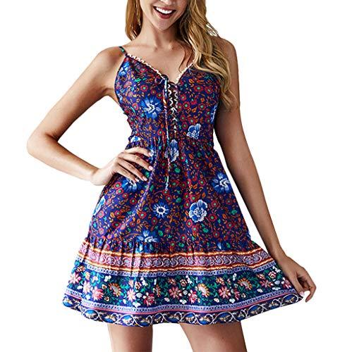 Sunhusing Ladies Sexy Lace Trim Strap Dress Deep V-Neck Small Floral Print Strappy Bohemian Beach Dress Blue