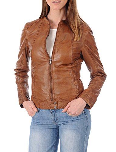 DOLLY LAMB Women's Lambskin Leather Moto Biker Jacket - Winter Wear - Round Neck Collar Tan Antic - Medium