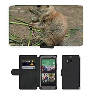 PU LEATHER case coque housse smartphone Flip bag Cover protection // M00134772 Prairie Dog Cynomys Animales Gophers // HTC One M8