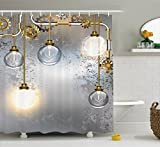 Ambesonne Industrial Decor Shower Curtain, Steampunk Antique Composition Brass Fastening Round Figures Print, Fabric Bathroom Decor Set Hooks, 75 inches Long, Gold Grey White