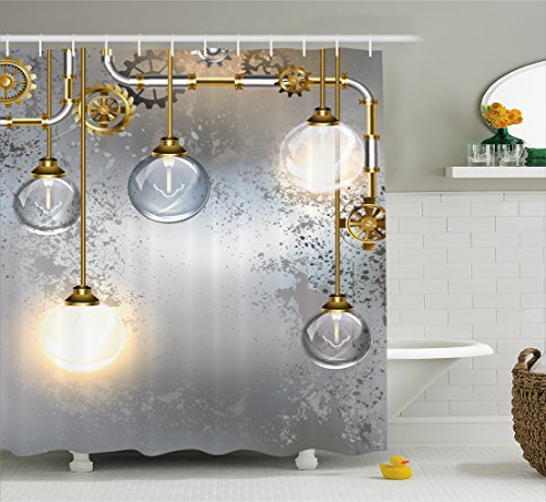 Shower Curtain with Steampunk Brass Fastenings