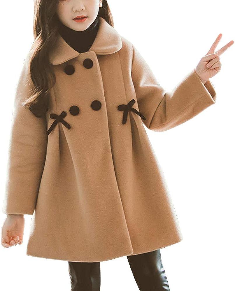 OCHENTA Kids Girls Double-Breasted Wool Jacket Lapel Dress Coats