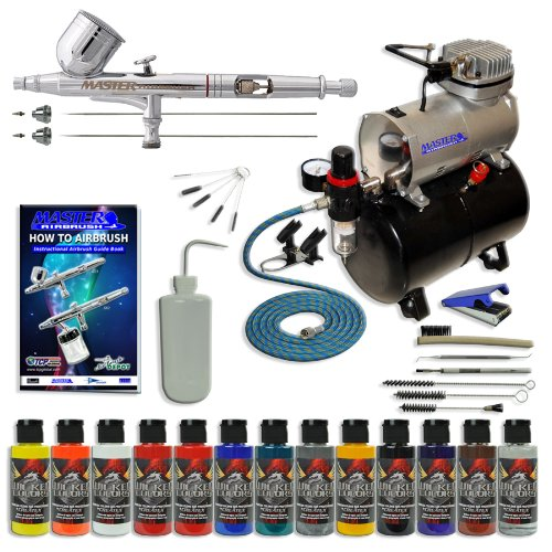 Master Multi-Purpose Wicked Colors Deluxe Airbrushing System Master Airbrush ... by Master Airbrush