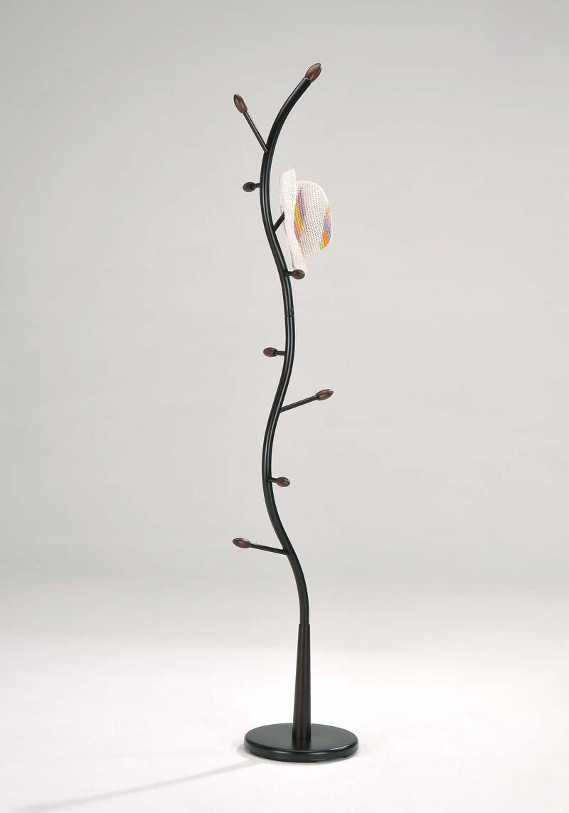 King's Brand Furniture - Black Metal & Walnut Wood Hall Tree Coat & Hat Rack Stand