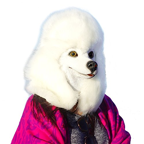 CreepyParty Deluxe Halloween Costume Party Latex Super Bowl Underdog Dog Head Mask Poodle]()