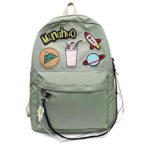 Dabixx School Bag Voyage Preppy Style Sac À Dos Lettre Cartoon Étiquetage Filles Filles-Rose Vert