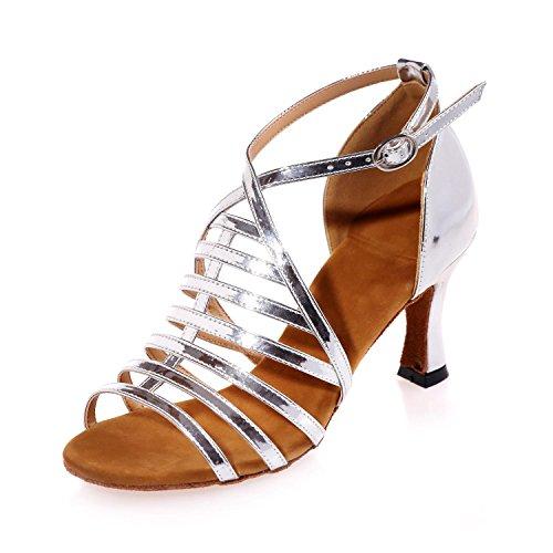 L Personnalisé Latin silver Swing Jazz Talons Chaussures Satin Professionnel DéButants YC 7 Hauts FéMinine De 5cm Danse ZZHgw