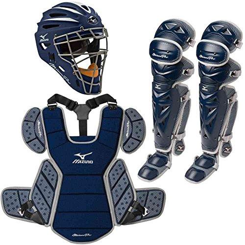 Mizuno Pro Adult Baseball Catchers Set Helmet Leg Guard Chest Protector Navy by Mizuno