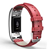 MoKo Fitbit Charge 2 Band , Premium Soft Genuine Leather Crocodile Pattern Replacement Strap + Connector for 2016 Fitbit Charge 2 Heart Rate + Fitness Wristband, Wrist Length 5.70''-8.66'', RED