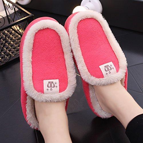 Y-Hui pareja invierno zapatillas de algodón Bolsa con damas del hombre interior, Hogar y calzado antideslizante SHOES Invierno térmico Watermelon Red