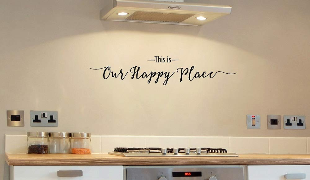 """Wall Decor Plus More WDPM3476""""This is Our Happy Place Script"""" Wall Decal Vinyl Lettering, 36 x 7"""", Black"""