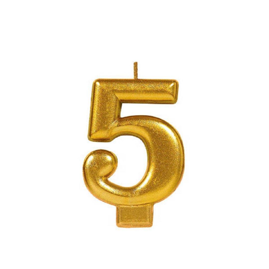 Zugar Land Numeral # Metallic Birthday Cake Candle (3.25'') Metallic Shiny Gold (Five - Numeral # 5)