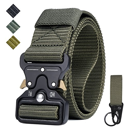 IWIVI 1.5 Inch Tactical Duty Belt Nylon Military Style Belt with Quick-Release Metal Cobra Buckle for EDC Molle Equipment