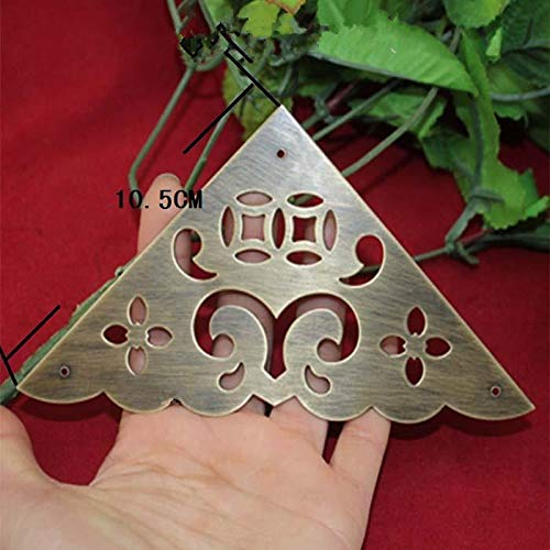 BIG-DEAL_Filigree Triangle Brass Coner Cabochon,Ancient Vintage Corner,Flatback Metal Embellishments Scrapbooking,Wooden Box Decor,10.5cm