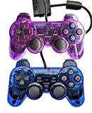Bowink 2 Packs Wired Gaming Controllers for Ps2 Double Shock - Blue + Purple