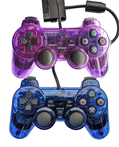 bowink-2-packs-wired-gaming-controllers-for-ps2-double-shock-blue-purple