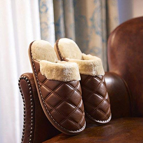 1 JaHGDU Household Indoor Home shoes Keep Warm Faux Leather Slippers Men Slippers Large Brown for Men Soild color