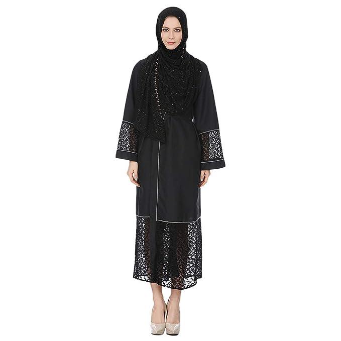 RISTHY Musulmana Batas Largos Musulmán Vestido Encaje Vestidos Elegantes Vestidos Largos Color Sólido Abaya Dubai Turquia Islámica Árabe Kaftan Dubai para ...