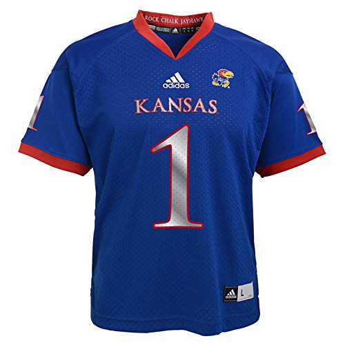 adidas Kansas Jayhawks NCAA Blue Official Home #1 Replica Football Jersey for Youth (L)