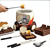 "Plow & Hearth Indoor S'mores Maker - Campfire Design with Roasting Sticks and Serving Plates - Glazed and Painted Ceramic, Metal and Wood - 6"" dia. x 6""H"