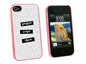 Graphics and More Peace Love Oboe - Snap On Hard Protective Case for Apple iPhone 4 4S - Pink - Carrying Case - Non-Retail Packaging - Pink