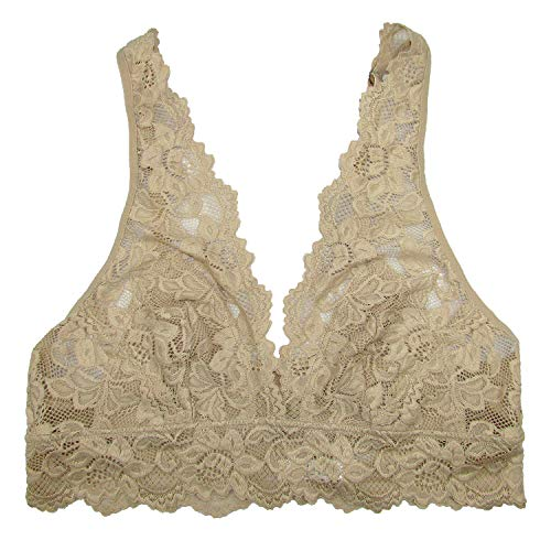 Undie Couture Wide Strap Lace Bralette (Nude, Large)