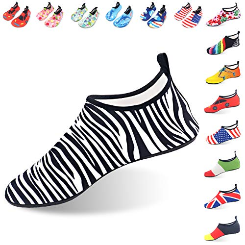 (LYSHION Water Shoes Barefoot Quick-Dry Ultra-Light Breathable Aqua Socks for Beach Yoga Swimming Exercise Unisex, Zebra-Stripe, Size 42-43)