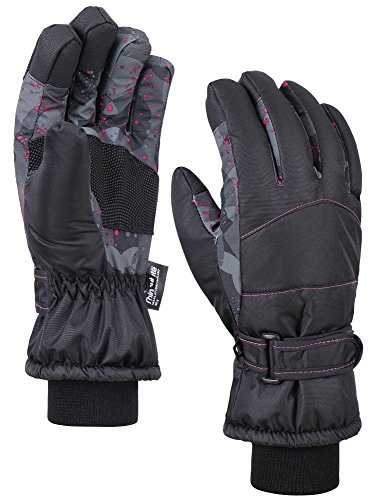 ANDORRA Women's Night Galaxy Thinsulate Waterproof Touchscreen Snow Gloves,S,Black Pink Dot (Ladies Winter Wetsuit)