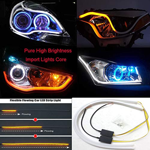 2X60CM Car Flexible Switchback LED Knight Rider Strip Light Headlight DRL Sequential Audi Style Led Strip