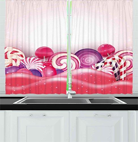 Ambesonne Modern Kitchen Curtains, Cute Rainbow-Swirl Lollip