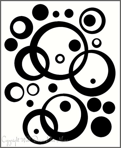 (Black Wall Vinyl Sticker Decal Circles, Rings, Dots 25+pc 11in Large Home)