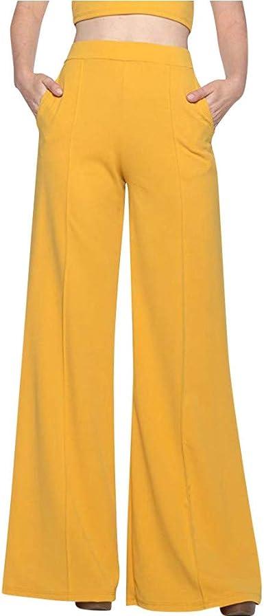 Pantalones Acampanados Mujer Pantalones Anchos Pantalones Fluidos Pantalones Elasticos Y Cintura Alta Pantalones Casual Comodo Elegantes Pantalones Vestir Elegantes Yvelands Amazon Es Ropa Y Accesorios