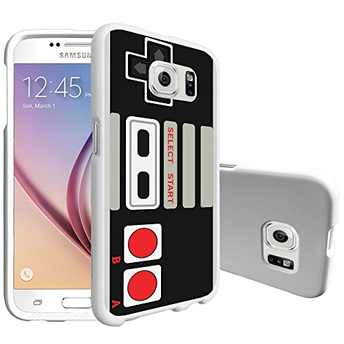 MINITURTLE Case Compatible w/ MINITURTLE Slim Smooth White Case Compatible w/ Samsung Galaxy S6 Hard Plastic Slim Fitted Snap on case w/ Unique Designs[Snap Shell White Case] - Game Controller