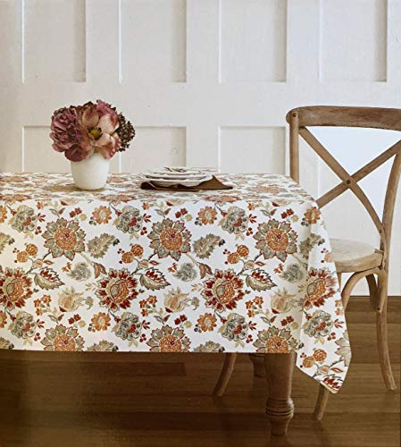 French Floral Fabric - Envogue Fabric Tablecloth French Jacobean Floral Pattern in Autumn Colors Shades of Beige Taupe Blue Red Orange on White - 60 Inches by 102 Inches