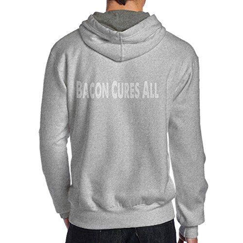 Bacon Cures All Fashion Trend Fashion Long Sleeve for Men Custom Hoodie Sweatshirt (Back) SizeKey1Ash