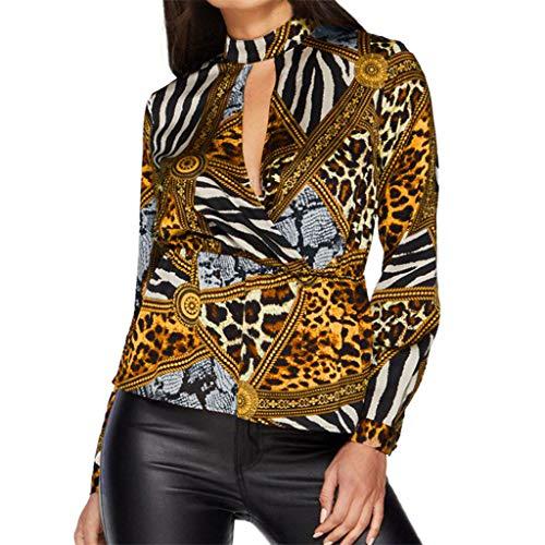 - TUSANG Womens Casual Blouse Tops O-Neck Long Sleeve Chiffon Printed Slim Fit Sexy T-Shirt Tops Tunics (Yellow,US-4/CN-S)
