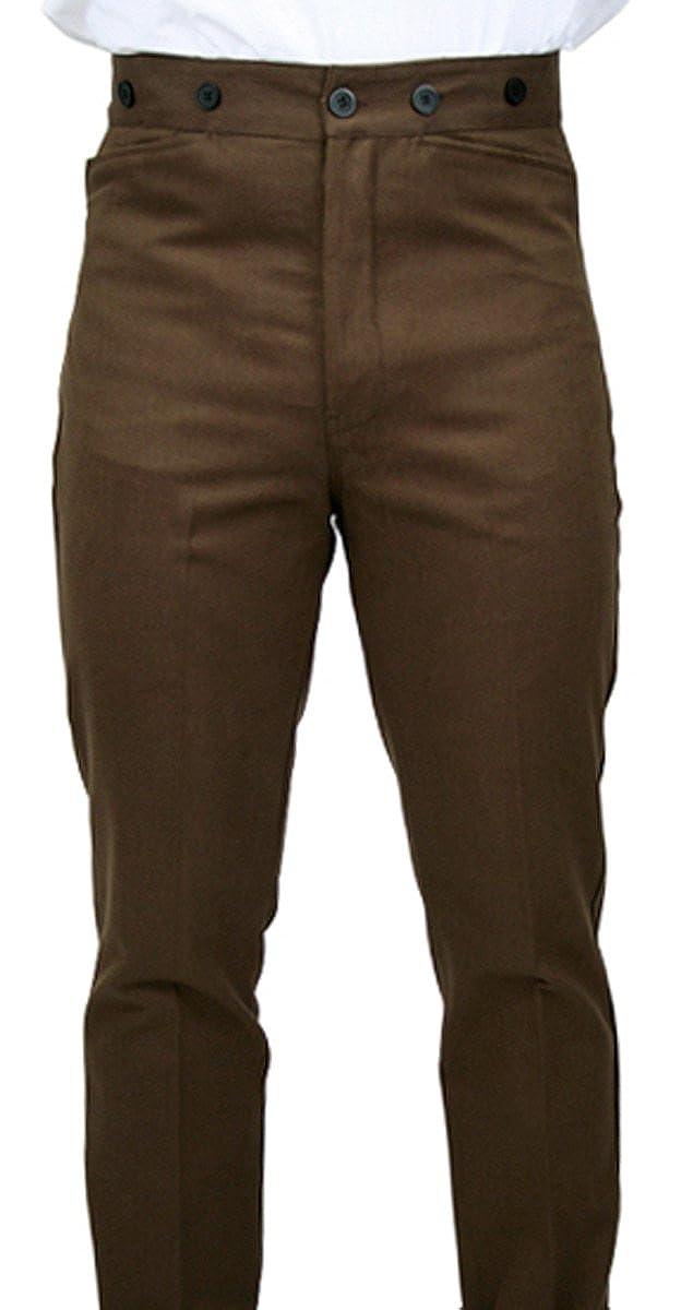 Historical Emporium Men's High Waist 100% Brushed Cotton Trousers 002981
