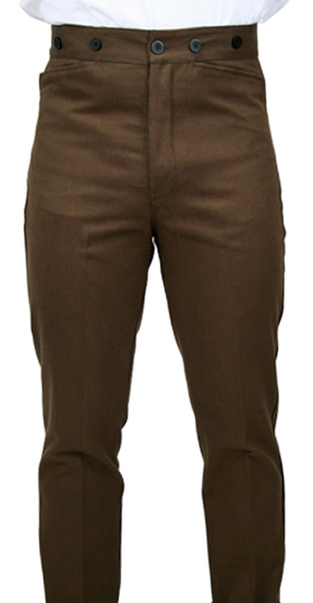 Historical Emporium Men's High Waist 100% Brushed Cotton Trousers 40 Sable Brown